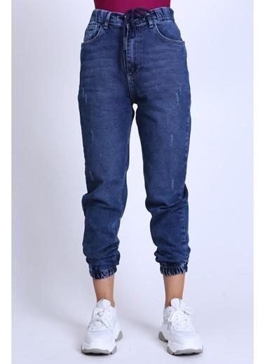 Female Project Lacivert Lastikli Paça Yüksel Bel Jogger Jeans Lacivert